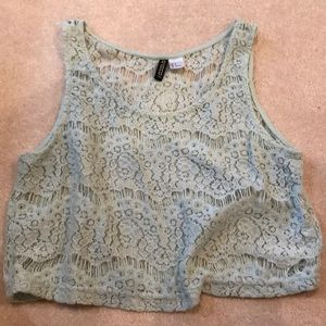 H&M green lace tank/crop top